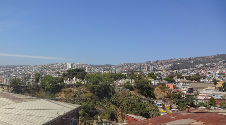 Valparaiso is a beautiful chilean city on the coast of the Pacific ocean. Hills with bright pictures. 写真素材
