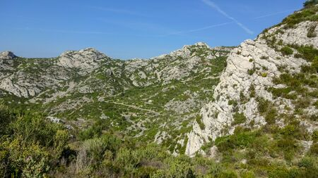 Calanques is amazing kind of relief. Rocks and mountains, blue azur water and beautiful nature near the Marseille, south of France.
