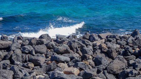 Beauty of Canarian islands, Fuerteventura with many volcanos, nice resort Caleta-de-Fuste in the east of the island.