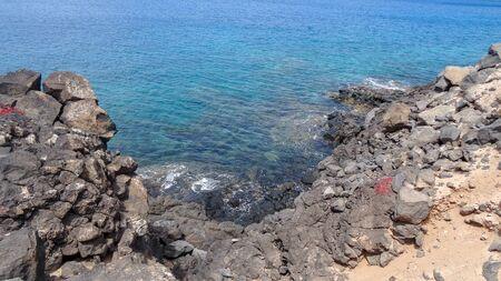 Amazing volcantic nature of Montana Roja, close to Playa Blanca - city on the Lanzarote island, Canarias, Spain. Beautiful views and good location