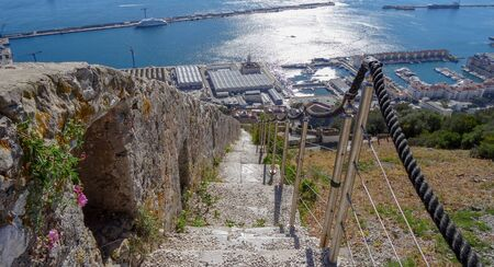 Upper Rock park in Gibraltar, part of Great Britain. Beautiful nature and amazing views from the highest point Imagens