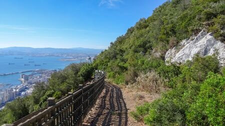 Upper Rock park in Gibraltar, part of Great Britain. Beautiful nature and amazing views from the highest point Stok Fotoğraf