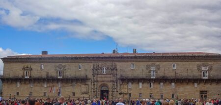 Architecture of beautiful Santiago de Compostela. Old buildings and many piligrims in the city center. Spain, Europe