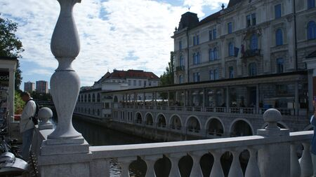 The architecture of Ljubljana is the capital of Slovenia. Old houses and a view from the hill. 写真素材