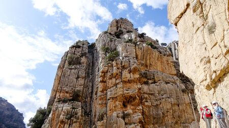 Caminito del Rey is a place with beautiful mountains, amazing nature and nice green trees in rocks Foto de archivo