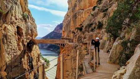 Caminito del Rey is a place with beautiful mountains, amazing nature and nice green trees in rocks