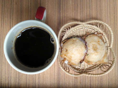 wicker work: Kind of Thai sweetmeat  and coffee in the morning