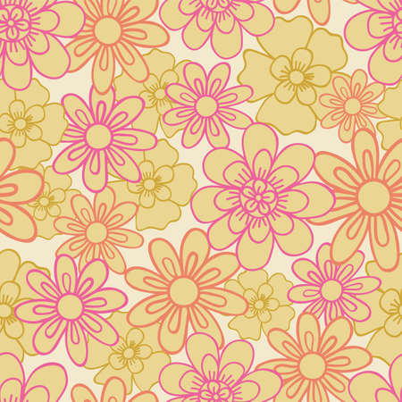 Vector seamless pattern with line art flowers