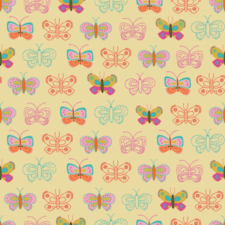 Vector seamless pattern with butterflies on a yellow background