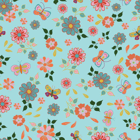 Vector seamless pattern with folk art flowers and butterflies on a light blue background Illustration