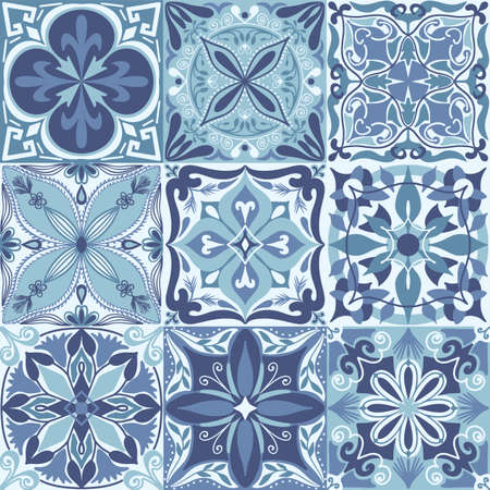 Vector Portuguese Azulejo Tiles Seamless Pattern Background Иллюстрация