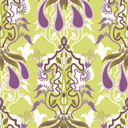 Vector floral seamless pattern in Art Nouveau style Illustration