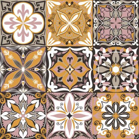 Vector Portuguese Azulejo Tiles Seamless Pattern Background. Vektorgrafik