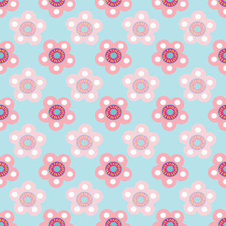 Vector pastel floral seamless pattern repeat on light blue background. 向量圖像
