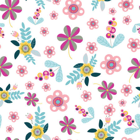 Vector seamless pattern repeat with random scattered folk art style floral motifs.