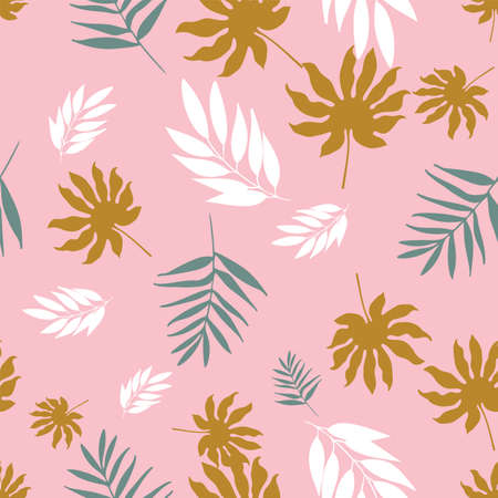 Vector soft pastel tropical leaves seamless pattern repeat. Illustration