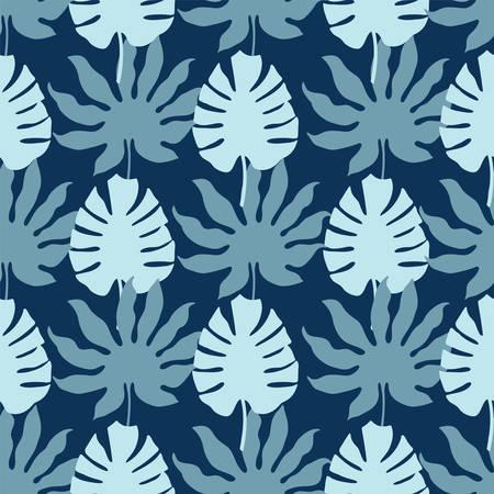 Vector Monstera tropical leaves seamless pattern repeat 일러스트
