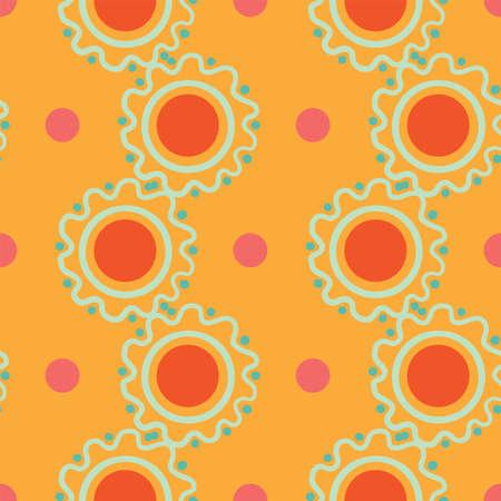 Vector abstract circle shapes and polka dots seamless pattern