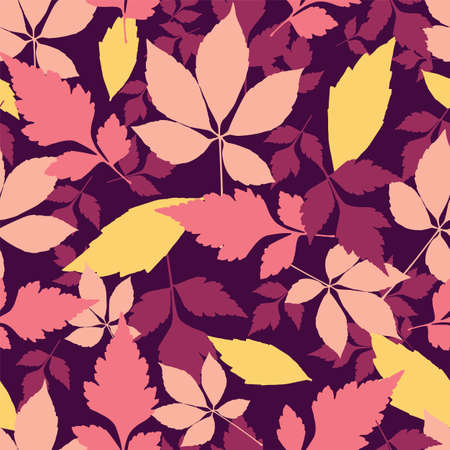 Vector autumn leaves seamless pattern repeat background