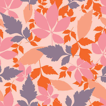 Vector pastel autumn leaves seamless pattern repeat background