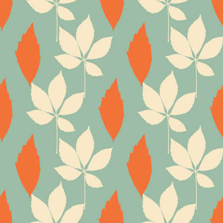 Vector autumn leaves seamless pattern on teal background