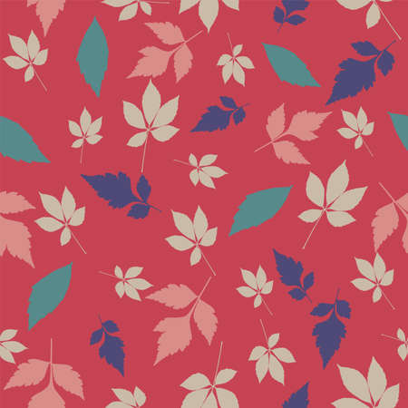 Vector Falling Autumn Leaves Seamless Pattern Background Ilustração