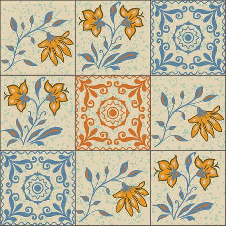 Vector Portuguese tiles floral ornament seamless pattern