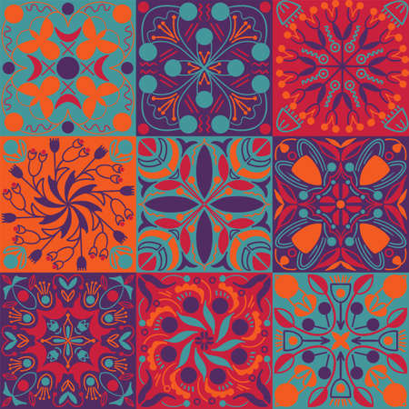 Vector bright colors ethnic tiles seamless pattern