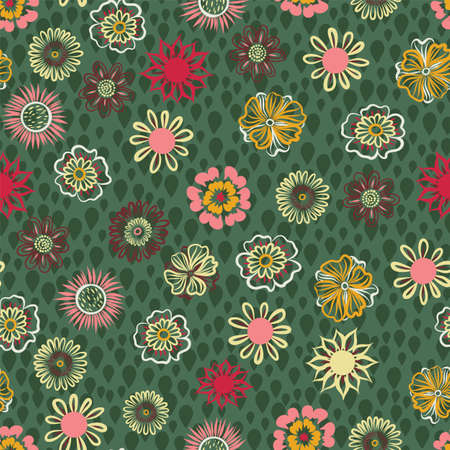 Vector floral hand drawn seamless pattern background