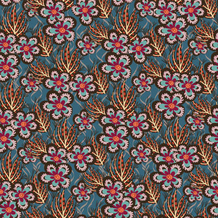 Vector whimsical tropical floral seamless pattern background. 免版税图像