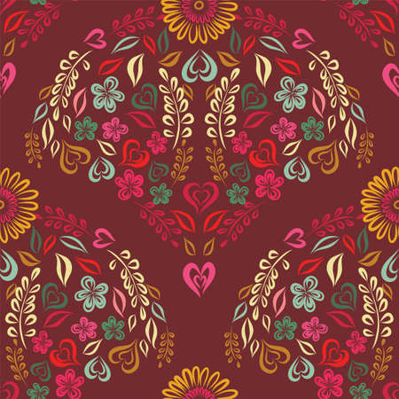 Vector line art floral scallop pattern on red.