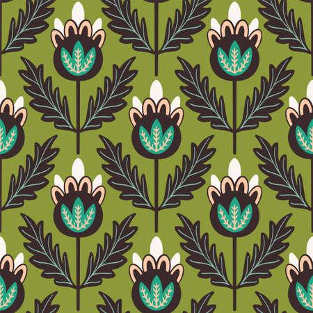 Vector floral Scandinavian folk art seamless pattern.
