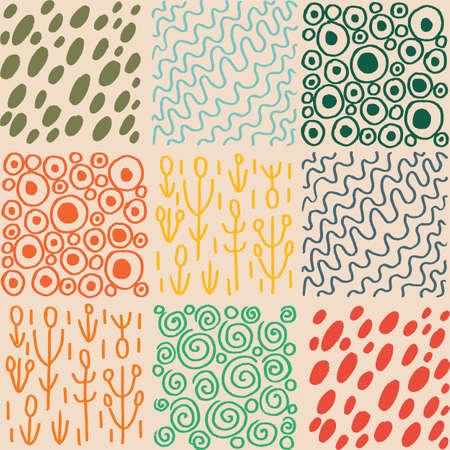 Vector hand drawn texture patchwork seamless pattern