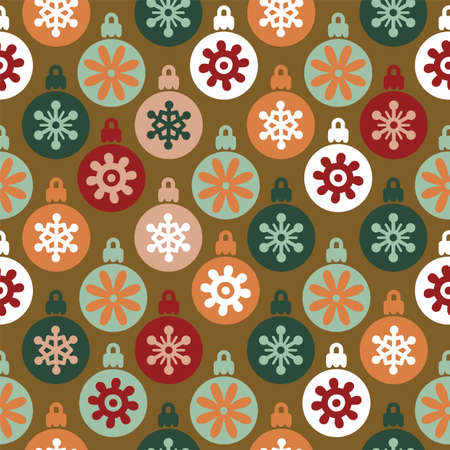 Vector christmas tree globes seamless pattern background.