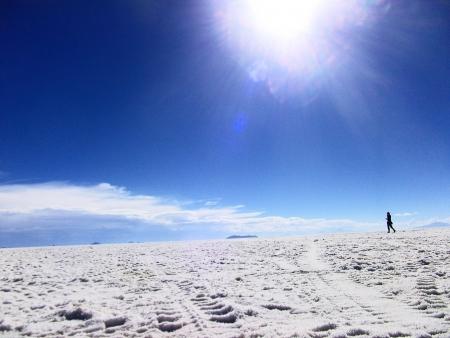 on the way - salt lake in Bolivia photo