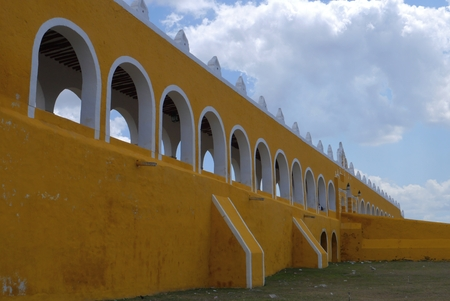 yello: Izamal famous yello city in Mexico Yucatan convent wall