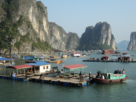 vietnam travel beach ocean panorama H  7841; Long Bay rocks and boats photo