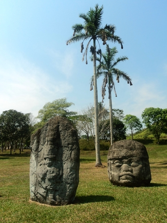 stone sculptures tabasco mexico photo