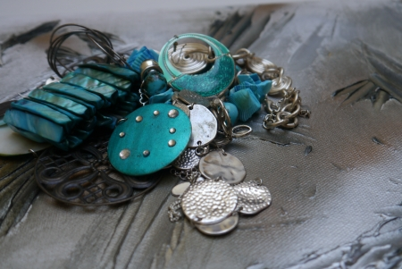 necklace art silver and decoration blue style photo