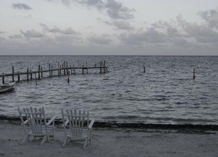 sunset ocean sea beach mexico mahual  版權商用圖片
