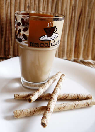 coffee cappuccino time and cookies photo