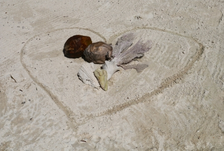 Muschel Zeit am Strand Sommerurlaub Herz Standard-Bild