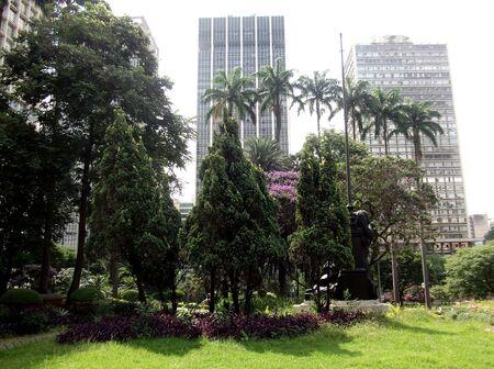 city park skyline: Sao Paulo Brazil City panorma skyline park palms