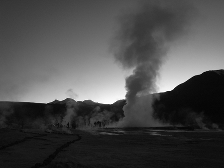 geysers: geysers in the mountains of chile Stock Photo