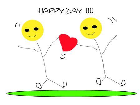 happy day cartoon stickman couple heart