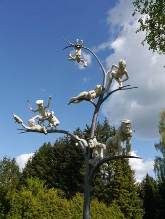 fasnacht: carnival fool jester sculptures tree arts