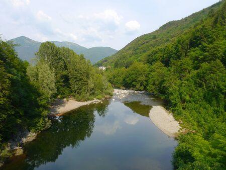 refelction: italy cannobio mountains river landscape piemont