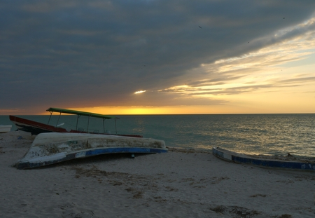 sunset at the beach Celestun mexico  oceans panorama photo