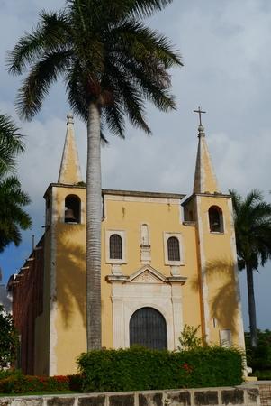antik: church santa ana merida mexiko yucatan park garden palms Stock Photo