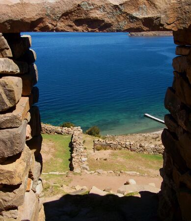bolivia isla del sol ruins copacabana mountain landscape lake photo